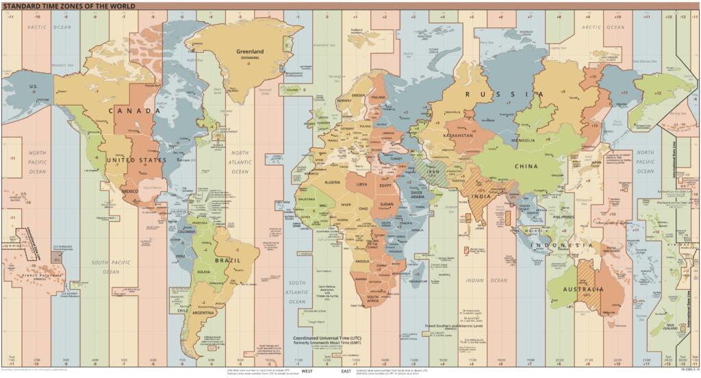 Karte der Zeitzonen